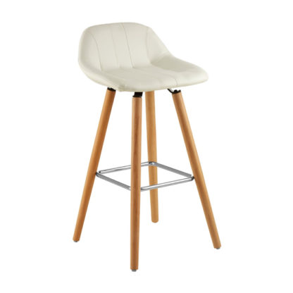 An Image of Porrima Faux Leather Bar Stool In White