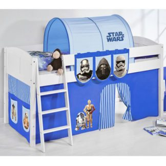 An Image of Hilla Children Bed In White With Star Wars Blue Curtains
