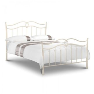 An Image of Karina Metal Double Bed In Stone White Finish