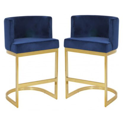 An Image of Lauro Blue Velvet Bar Chairs In Pair With Gold Legs