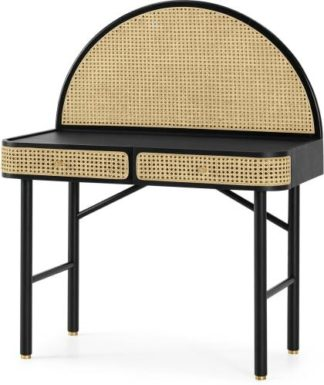 An Image of Ankhara Desk, Black Stained Oak & Rattan