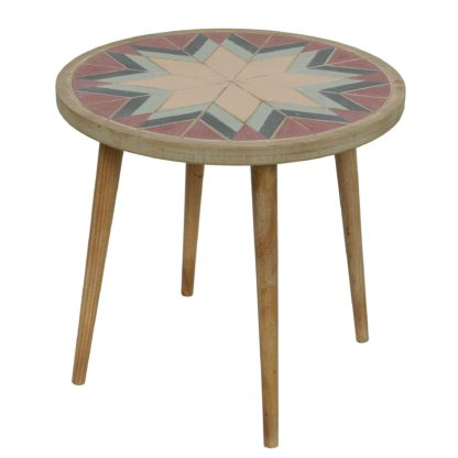 An Image of Handmade Round Side Table, Pastel and White Wash