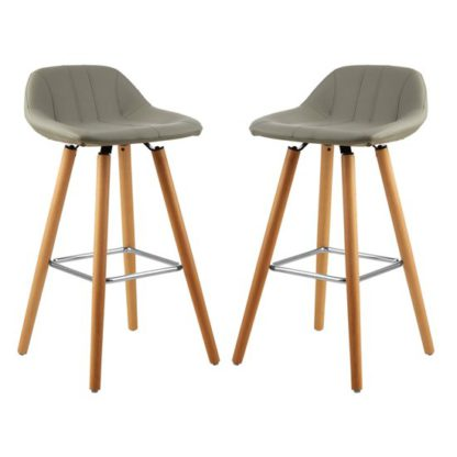 An Image of Porrima Grey Faux Leather Bar Stools In Pair