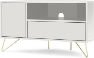 An Image of Elona Corner Media Unit, Ivory White & Brass