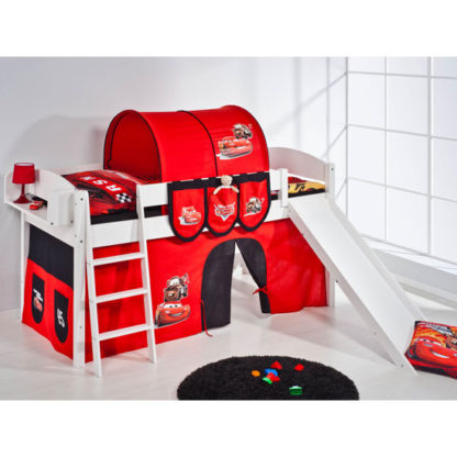 An Image of Lilla Slide Children Bed In White With Disney Cars Curtains