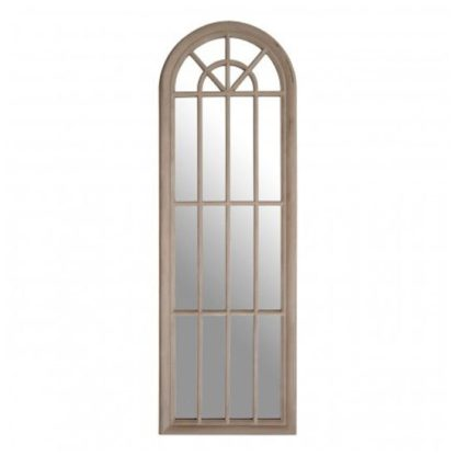 An Image of Sabina Window Design Wall Bedroom Mirror In Chinese Oak Frame