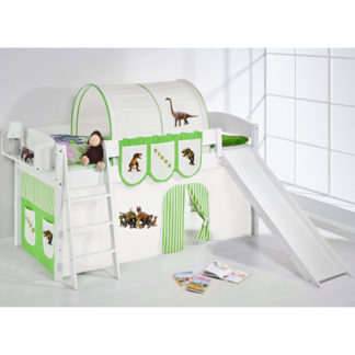 An Image of Lilla Slide Children Bed In White With Dinosaur Green Curtains