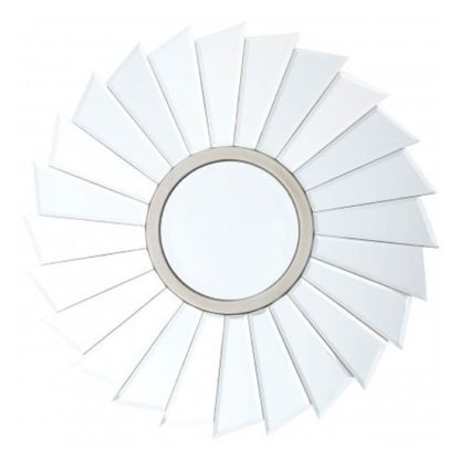 An Image of Tiffani Round Flared Wall Bedroom Mirror In Silver Frame