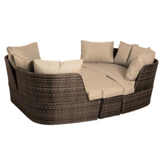 An Image of Ascot Garden Day Bed in Brown Weave and Beige Fabric
