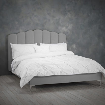 An Image of Willow Sumptuous Velvet Double Bed In Silver