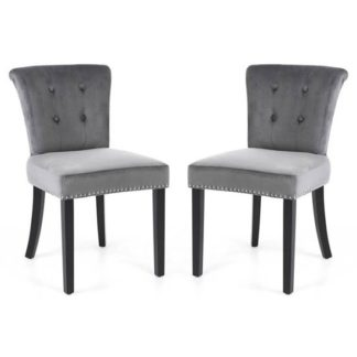 An Image of Sandringham Lionhead Grey Brushed Velvet Accent Chairs In Pair