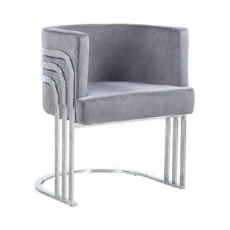 An Image of Lula Grey Velvet Dining Chair With Silver Stainless Steel Legs