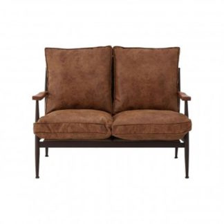 An Image of New Voundry 2 Seater Metal Sofa In Brown