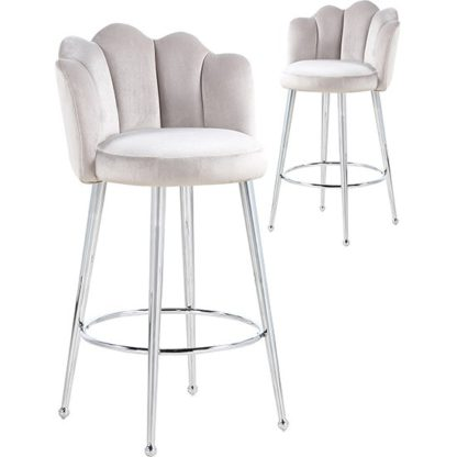 An Image of Mario Brown Velvet Bar Stools In Pair With Silver Legs