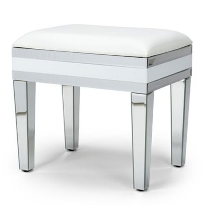 An Image of Liberty Mirrored Dressing Table Stool In Silver And White Gloss