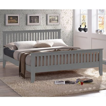 An Image of Turin Wooden Double Bed In Grey