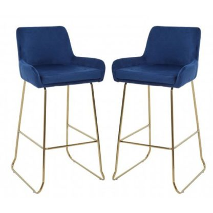 An Image of Tamzo Blue Velvet Upholstered Bar Chair With Low Arms In Pair