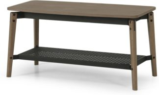 An Image of Mellor Hallway Bench, Dark Stained Oak & Textured Charcoal