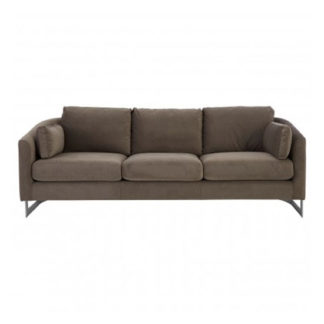 An Image of Freeda 3 Seater Velvet Sofa In Grey