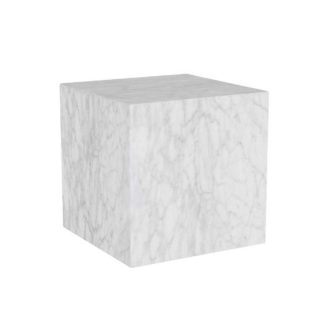 An Image of Timothy Oulton Marble Cube Side Table, White Marble