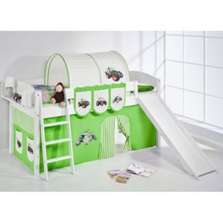 An Image of Lilla Slide Children Bed In White With Tractor Green Curtains