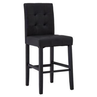 An Image of Trento Park Stitched Back Faux Leather Bar Chair In Black