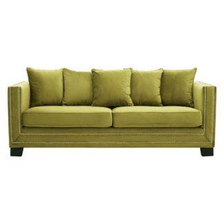 An Image of Pipirima 3 Seater Velvet Sofa In Green