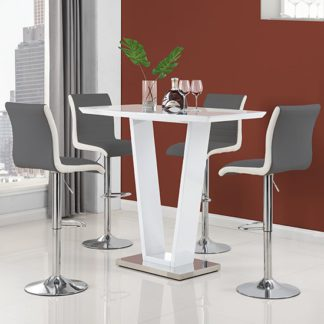 An Image of Ilko High Gloss Bar Table In White With 4 Ritz Grey White Stools
