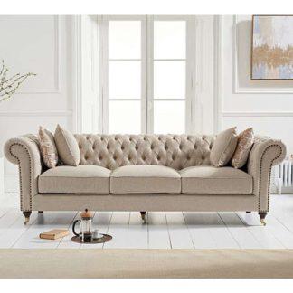 An Image of Cemori Chesterfield Linen 3 Seater Sofa In Cream