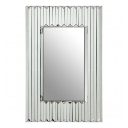 An Image of Rota Sleek Design Wall Bedroom Mirror In Polished Silver Frame