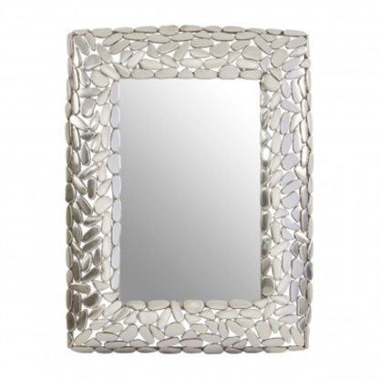 An Image of Templars Pebble Effect Wall Bedroom Mirror In Silver Frame