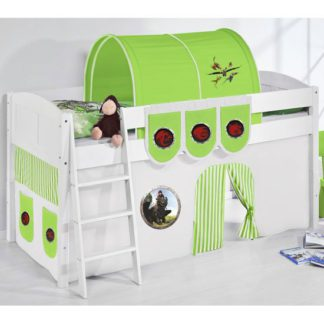 An Image of Hilla Children Bed In White With Dragons Green Curtains