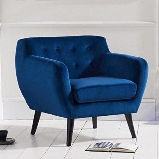 An Image of Alvey Modern Accent Chair In Blue Velvet With Dark Legs