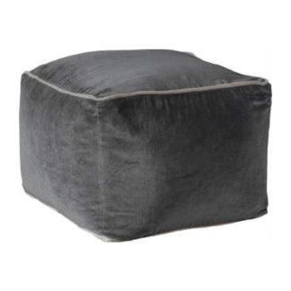 An Image of Moreno Velvet Upholstered Square Pouffe In Silver