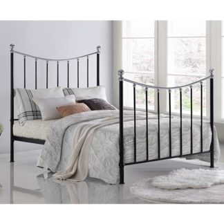 An Image of Vienna Metal Double Bed In Black With Chrome Details