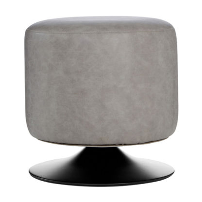 An Image of Kekoun Faux Leather Cylinder Footstool In Vintage Ash