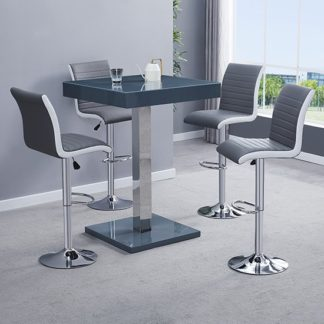 An Image of Topaz Modern Bar Table In Grey High Gloss With 4 Ritz Stools