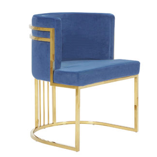 An Image of Casoli Velvet Dining Chair In Blue With Gold Legs