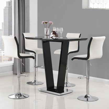An Image of Ilko High Gloss Bar Table In Black With 4 Ritz White Black Stool