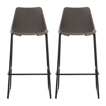 An Image of Kekoun Vintage Ash Faux Leather Bar Stools In Pair