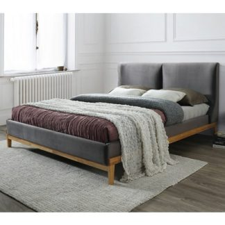 An Image of Energy Fabric Double Bed In Asphalt Grey With Wooden Frame