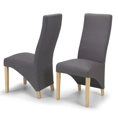 An Image of Devon Grey Polyester Dining Chairs In A Pair With Natural Legs