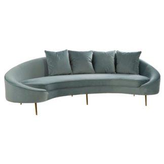 An Image of Osmodin Velvet Upholstered 4 Seater Sofa In Light Blue