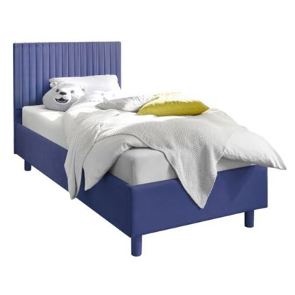 An Image of Altair Blue Fabric Single Bed With Stripes Headboard