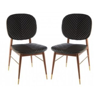 An Image of Kentona Black Faux Leather Dining Chairs In Pair