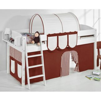 An Image of Lilla Children Bed In White With Brown Curtains