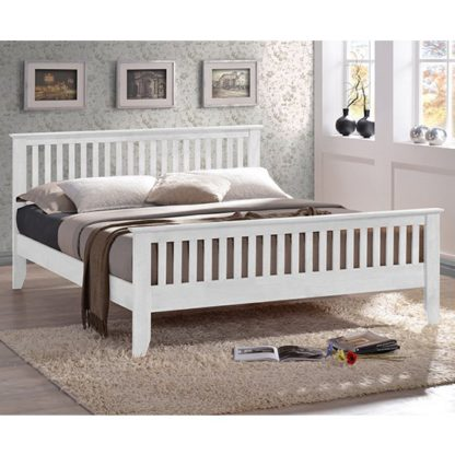 An Image of Turin Wooden Single Bed In White