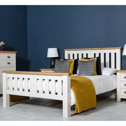 An Image of Oxford Wooden Double Bed In White And Oak