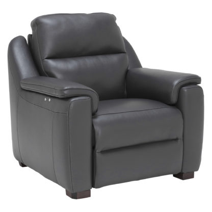 An Image of Strauss Grey Leather Recliner Armchair