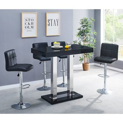An Image of Caprice Glass Bar Table In Black With 4 Coco Black Stools